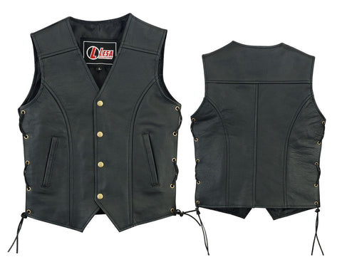 Real Leather kids vest with lace up sides-Black - Lesa Collection