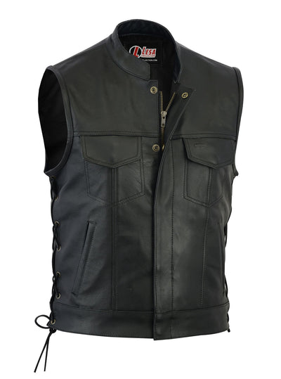 Real Leather Motorbike Cut Off Vest With Chrome  Biker Sons of Anarchy Laced up - Lesa Collection