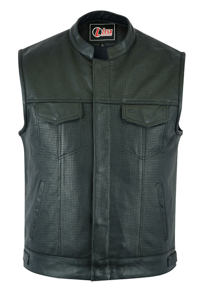 Mens Real Leather Black SOA Cut Off Style Motorcycle Biker Vest Club Waistcoat - Lesa Collection