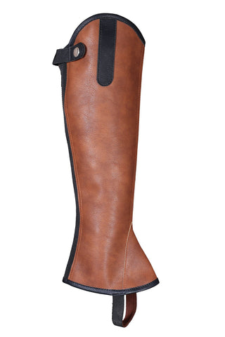 Brown Synthetic Leather Lightweight Horse Rider half chaps - Lesa Collection