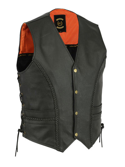 Braided Leather Motorcycle Biker Style Waistcoat Vest Black Side Laced - Lesa Collection
