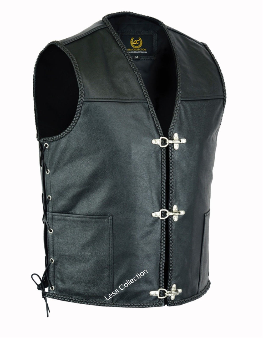 Mens Motorcycle Leather Side Laced Vest with fish hook Buckles