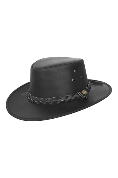 Leather Outback Austrailian Bush Hat Brown And Black With Free Chin Strap - Lesa Collection