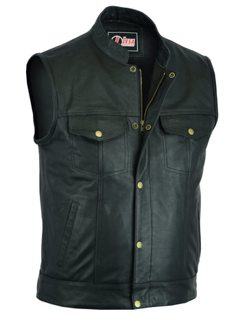 Leather Motorcycle Cut Off SOA Style Black - Lesa Collection