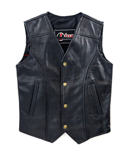 Children's Kids Real Leather Biker Motorcycle Vest Black Fancy Dress - Lesa Collection