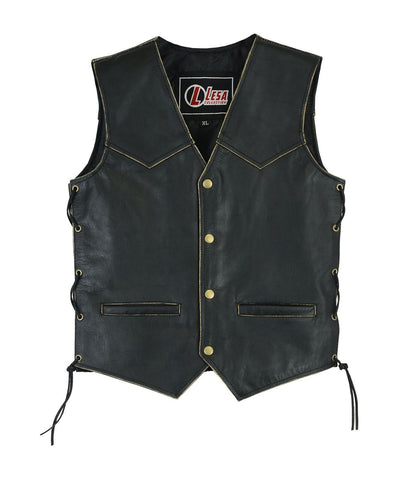 Children's Kids Real Leather biker motorcycle vest with lace up sides distressed - Lesa Collection