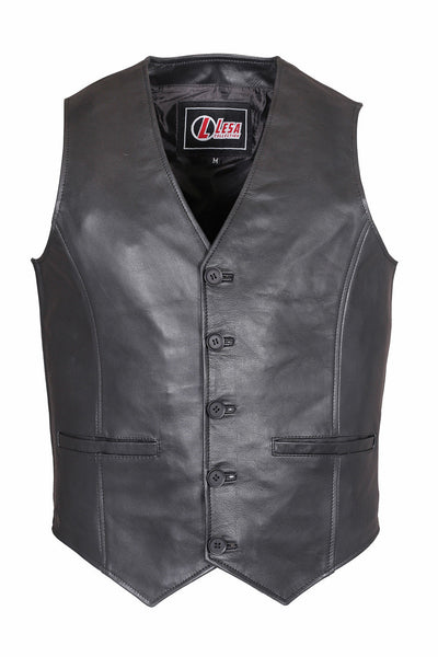 Men's Casual Party Black Fashion Classic Designer Real Soft Leather Waistcoat - Lesa Collection