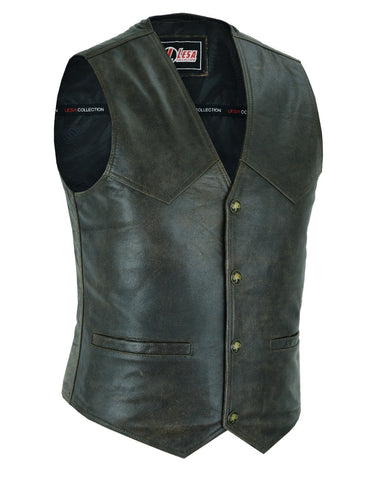 Mens Real Leather Waistcoat Motorcycle Biker Style Distressed Brown Vest - Lesa Collection