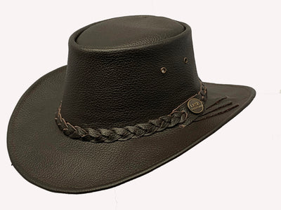 Australian Western Style Real Leather Crush able Bush Hat Cowboy Hat Brown - Lesa Collection