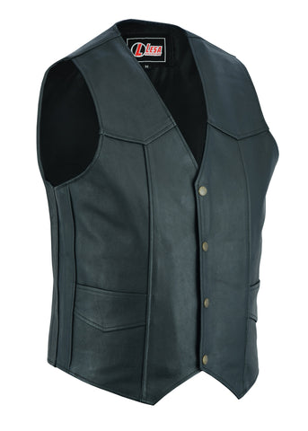 Mens Genuine Leather Motorcycle Biker Style Waistcoat Black Vest - Lesa Collection