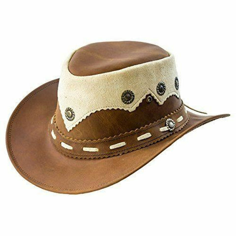 Real Oily Leather Cowboy Bush Hat Western Aussie Style Leather Hat - Lesa Collection