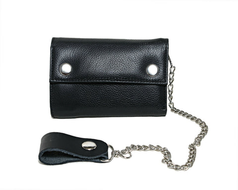 Men's New Biker Motorcycle Long TRUCK Genuine Leather Wallet / Purse Chain Black - Lesa Collection