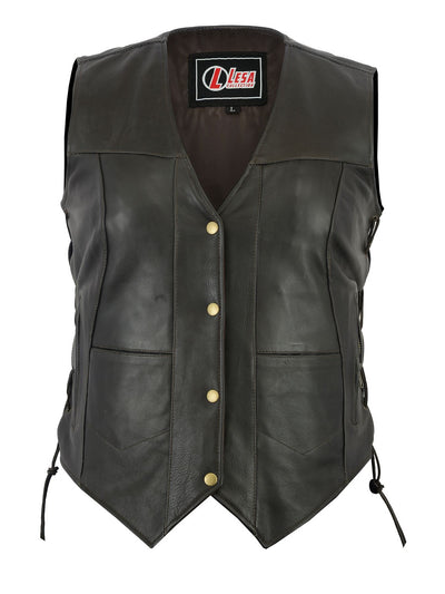 Women's  Brown  And Black Side Lace Leather 10 Pocket Vest - Lesa Collection