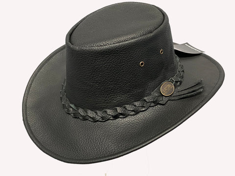 Australian Western Style Real Leather Cowboy Bush Hat Black Outback Style - Lesa Collection