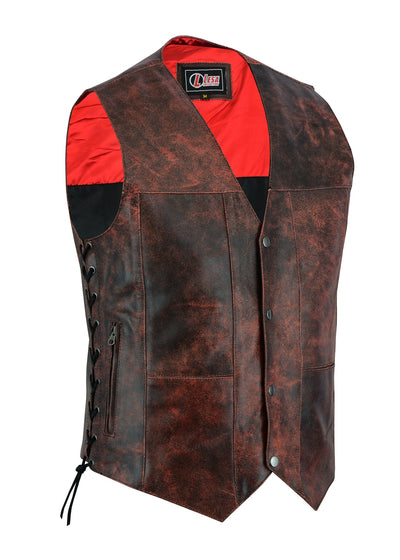Mens Red Distressed Waistcoat Motorcycle Biker Style Gillette Vest-Top Quality - Lesa Collection