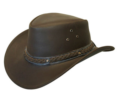 Oiled Leather Kids Hat Aussie Bush Style Classic Western Outback Girls/Boy Kids Hat - Lesa Collection