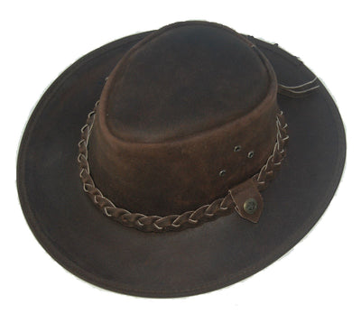 Leather Cowboy Western Aussie Style Bush Hat Brown - Lesa Collection