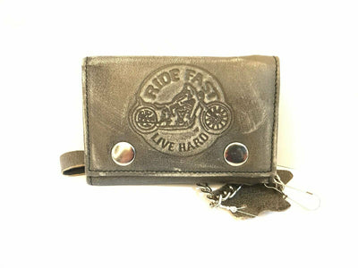 Distressed Leather Biker Motorcycle Genuine Quality Wallet Purse Chain Key Chain - Lesa Collection