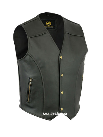 Leather Waistcoat Biker Vest Motorcycle Motorbike Leather Vest With 2Zip Pocket - Lesa Collection