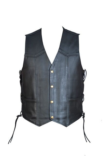 Leather Motorcycle Biker Style Waistcoat Vest With Laced Up Sides Black - Lesa Collection