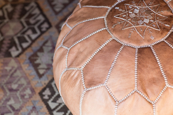 Genuine Leather Moroccan Pouf - Caramel