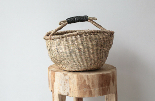 Mini Seagrass Market Basket w/ Black Leather Handle