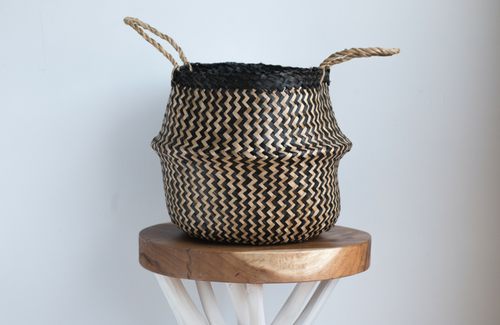 Medium Black & Natural Woven Belly Basket