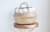 Small Natural PomPom Belly Basket