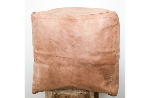 Genuine Leather Moroccan Square Pouf - Caramel