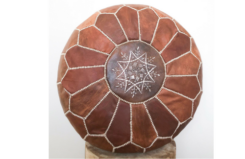 Genuine Leather Moroccan Pouf - Chestnut
