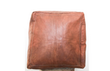 Genuine Leather Moroccan Square Pouf -Chestnut