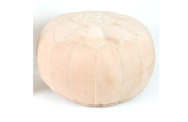 Genuine Leather Moroccan Pouf - Natural