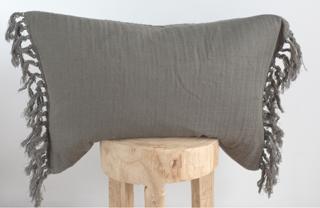 'Black' Textured Tassle Pillow 20x20