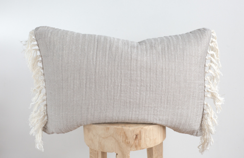 Linen Tassel Throw Pillow 16x24