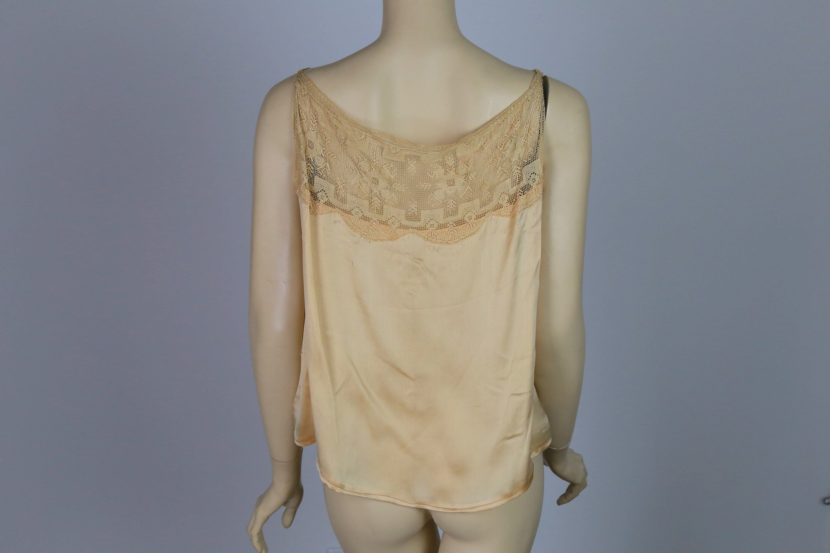 Antique Victorian chemise corset cover silk and lace