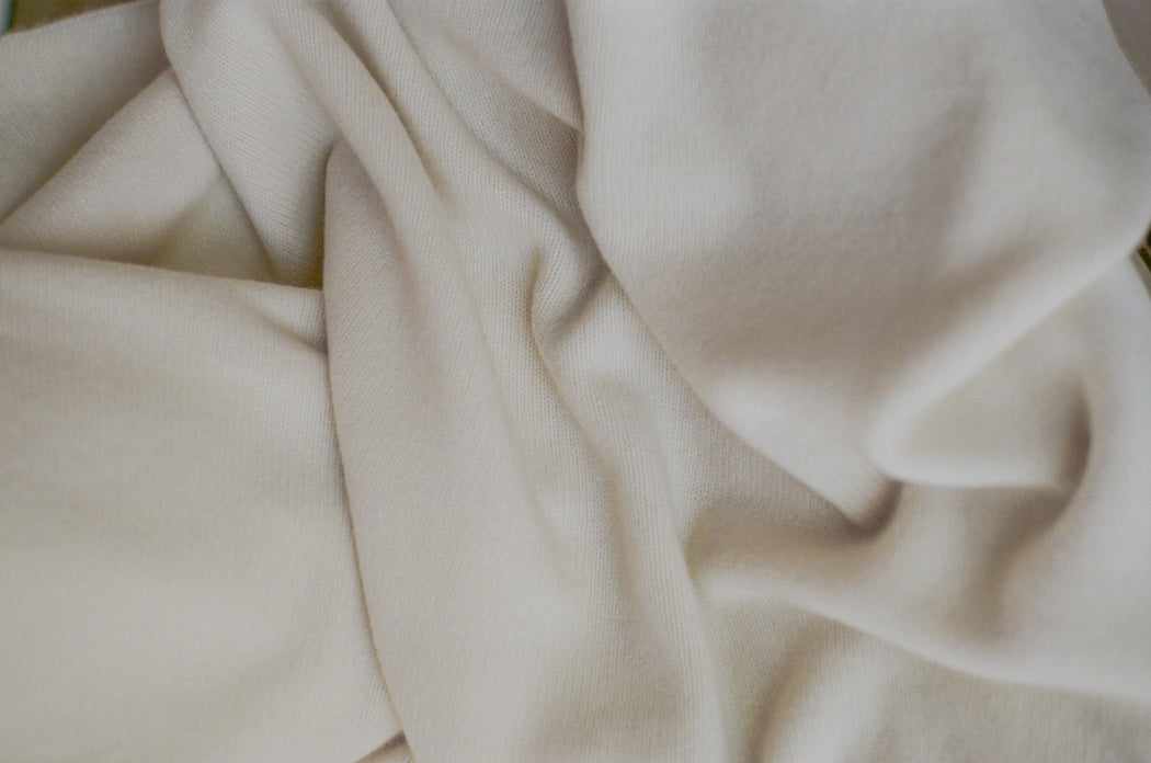 Oversized Italian Cashmere Jersey Knit Blanket - Cloud