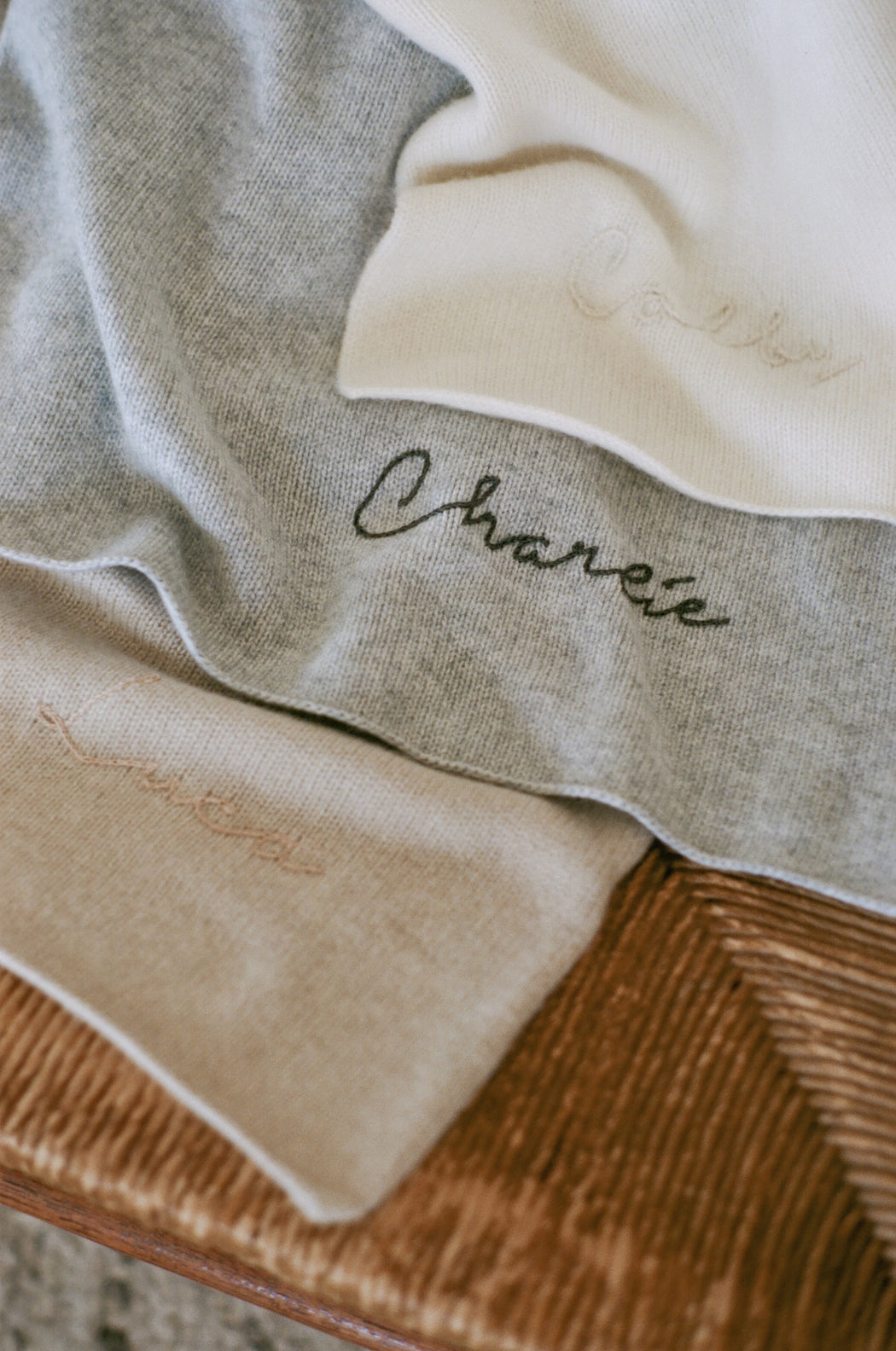Italian Cashmere Jersey Knit Baby / Travel Blanket - Sand