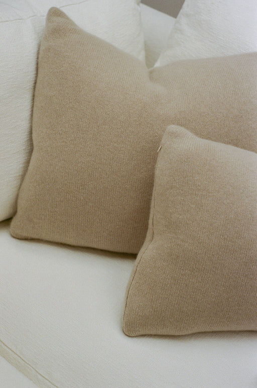 Italian Cashmere Jersey Knit Down Pillow - Sand