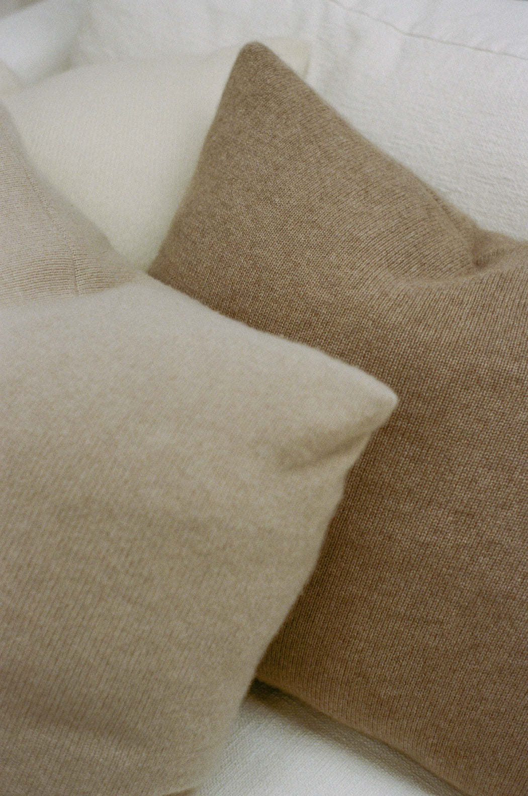 Italian Cashmere Jersey Knit Down Pillow - Oat