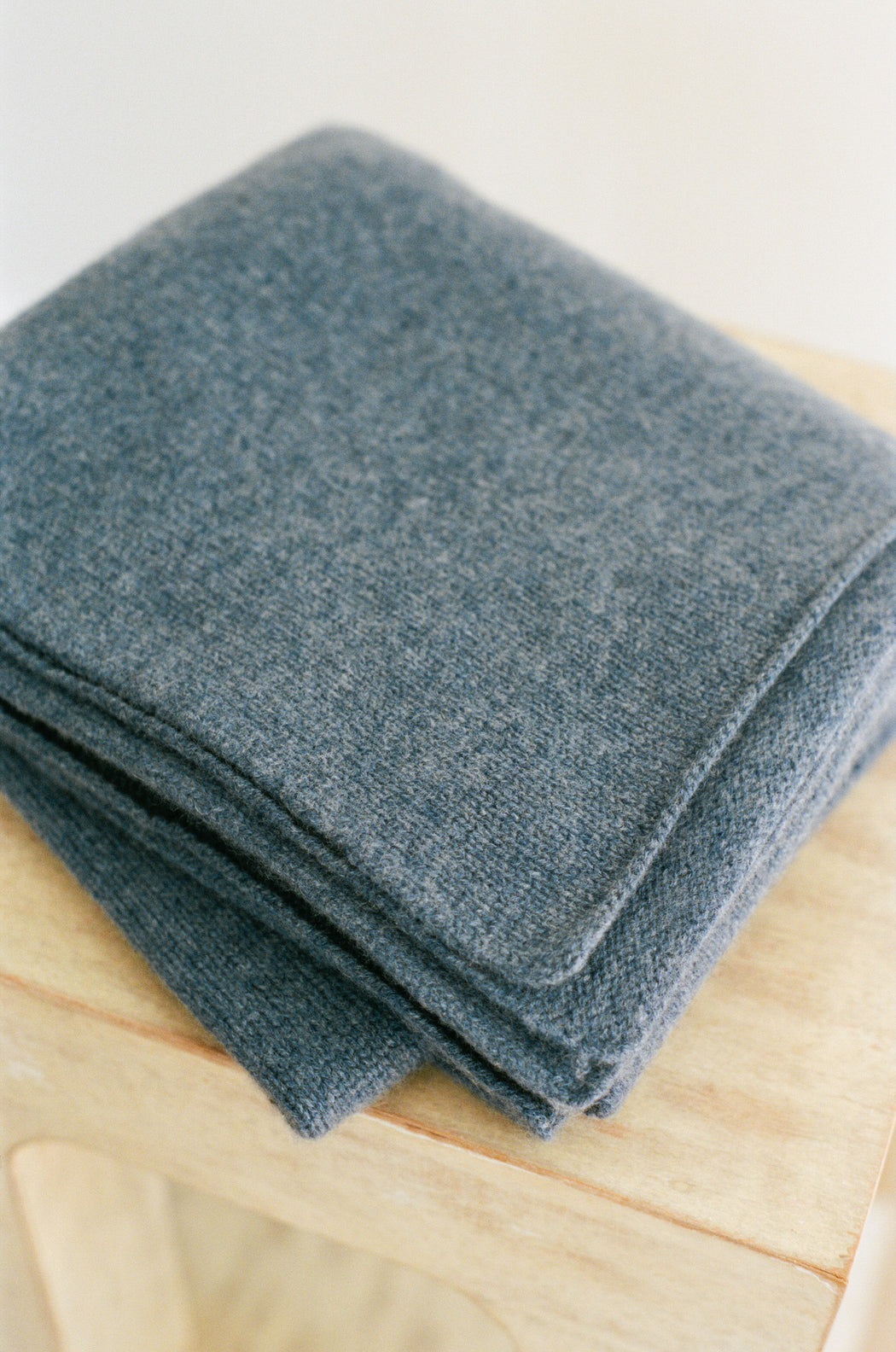 Italian Cashmere Jersey Knit Baby / Travel Blanket - Denim