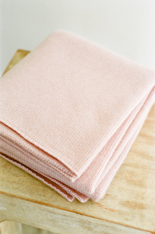 Italian Cashmere Jersey Knit Baby / Travel Blanket - Rose Petal