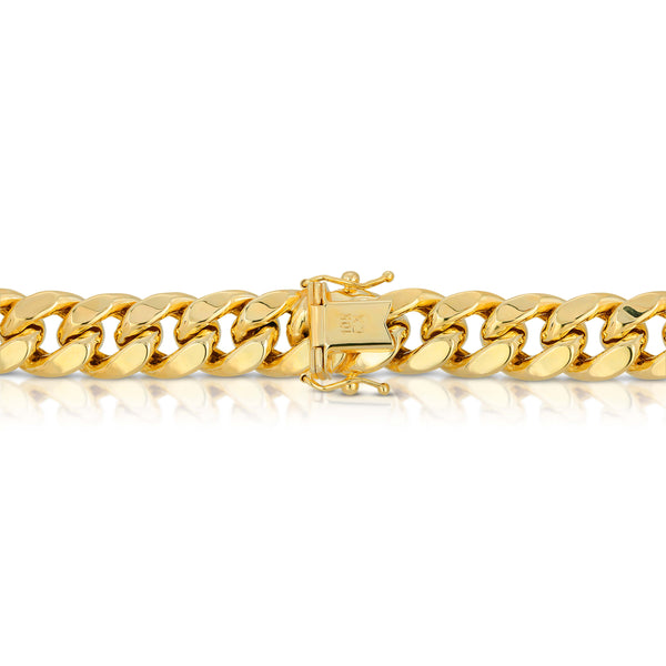 11.0MM MIAMI CUBAN LINK - HOLLOW 10K GOLD CHAIN - BOX CLASP LOCK