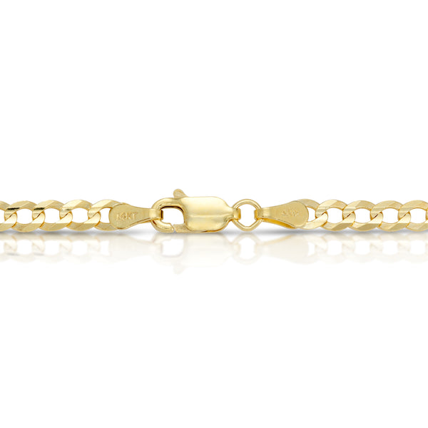 4.0MM CUBAN LINK (FLAT CURB) - SOLID 14K GOLD CHAIN