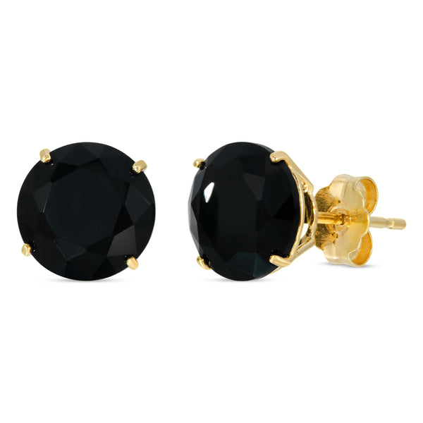 14K GOLD ROUND BLACK CZ EARRINGS