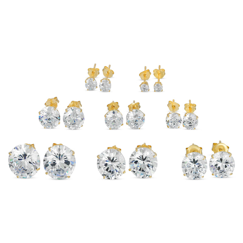 14K GOLD ROUND CZ STUD EARRINGS