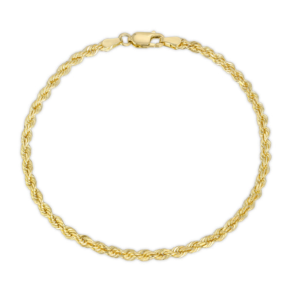 3.0MM D/C ROPE - SOLID 10K GOLD BRACELET