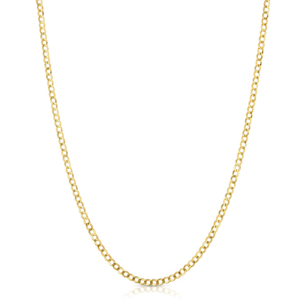 3.0MM CUBAN LINK (FLAT CURB) - SOLID 10K GOLD CHAIN