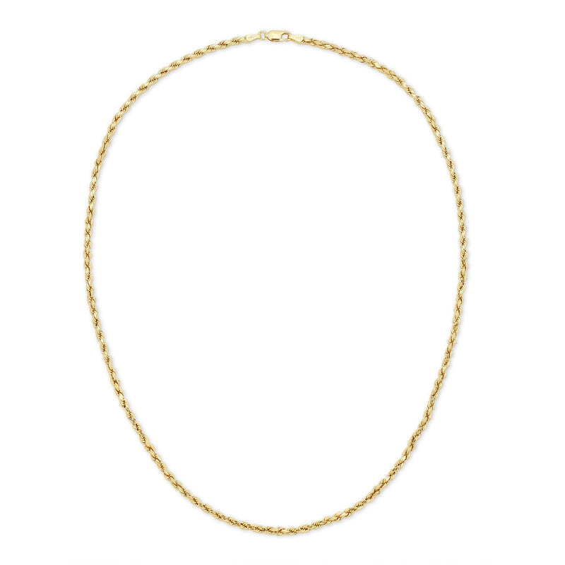 3.0MM D/C ROPE - HOLLOW 14K GOLD CHAIN