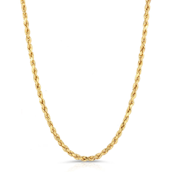 4.0MM D/C ROPE - HOLLOW 14K GOLD CHAIN