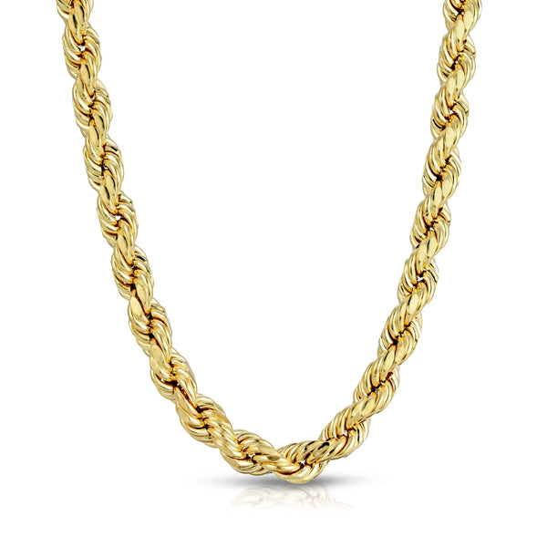8.0MM D/C ROPE - HOLLOW 10K GOLD CHAIN
